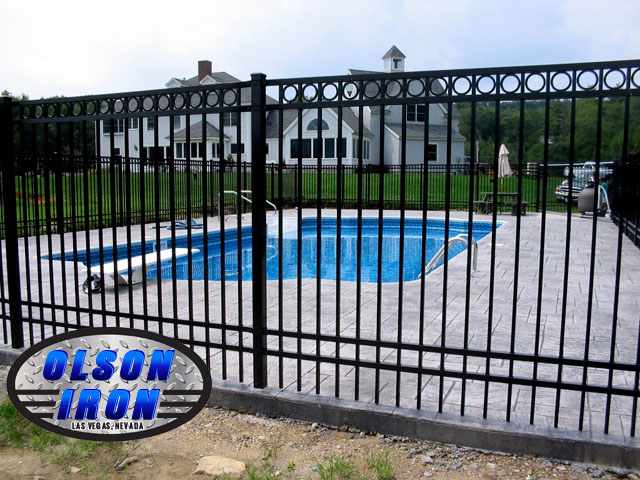 Iron and mesh pool fencing by olson las vegas